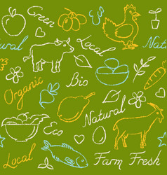 Seamless pattern with eco food symbols in sketch vector