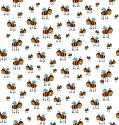 Seamless pattern with flying bees vector
