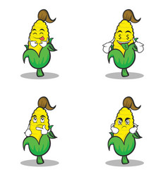 Set character of sweet corn vector