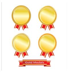 Set of golden medals vector