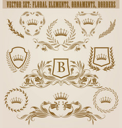Set of golden monograms vector