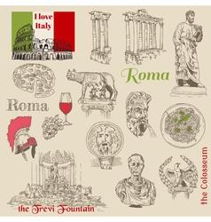 set rome doodles vector image