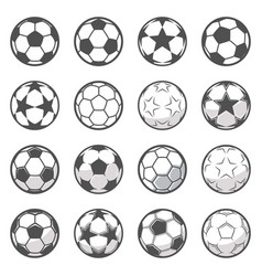 set sixteen monochrome soccer balls football vector image