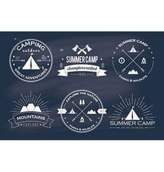 Set vintage summer camp badges and other vector