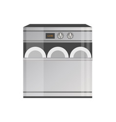 shiny metallic modern dishwasher with timer panel vector image