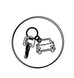 Silhouette circular shape with car keychain icon vector