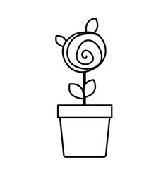 Silhouette drawing small rose with leaves and stem vector