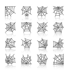 Spider web black line icon set with reflection vector