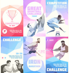 sporting competition flyers collection vector image