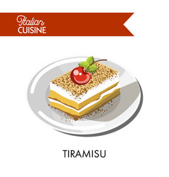 Tiramisu cake italian cuisine traditional vector