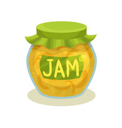 transparent jar with lemon jam glass pot with vector image