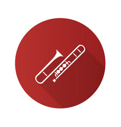 trombone flat design long shadow glyph icon vector image
