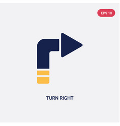 Two color turn right icon from ultimate vector