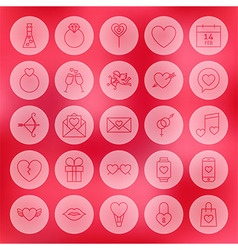Valentine Day Line Circle Icons Set vector image