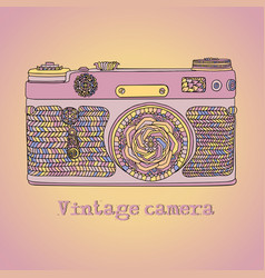 vintage retro photo camera with leaves pattern vector image