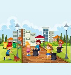 volunteer children cleaning park vector image