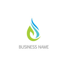 Water droplet bio eco logo vector