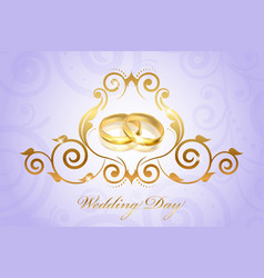 Wedding invitation floral purple vector
