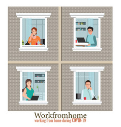 Windows with employees are working from home to vector