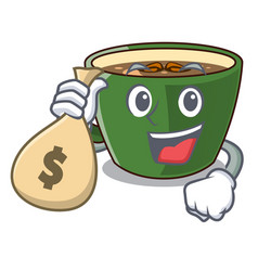 With money bag indian masala tea in cartoon glas vector