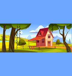 wooden farm house with fields and garden vector image