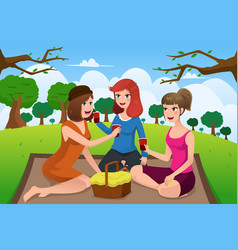 young women having picnic in a park vector image