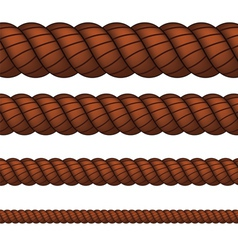 Brown rope in four sizes vector image