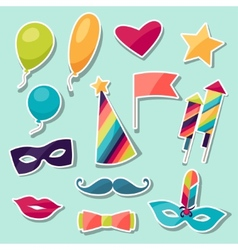 Celebration carnival set of sticker icons and vector image