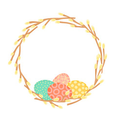 easter wreath made of willow branches and painted vector image
