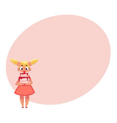 Little girl in pink dress holding strawberry vector