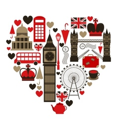 Love London heart symbol vector image vector image