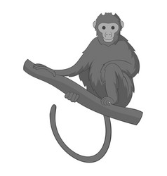 monkey sitting on a branch icon monochrome vector image