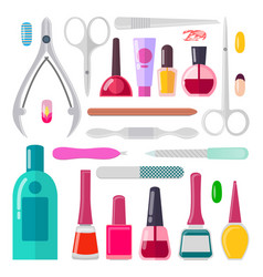 nail art collection of objects vector image vector image