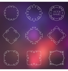 Set of various outline frames and badges on vector image