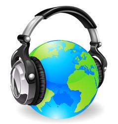 world globe music headphones vector image