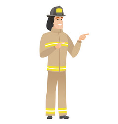 young caucasian firefighter pointing to the side vector image