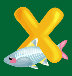 animals alphabet for kids fish letter x cartoon vector image