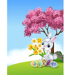 Cartoon bunny holding flower with colourful Easter vector image vector image
