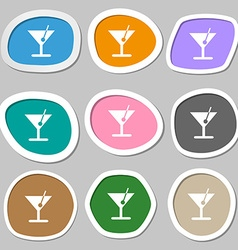 cocktail icon symbols Multicolored paper stickers vector image