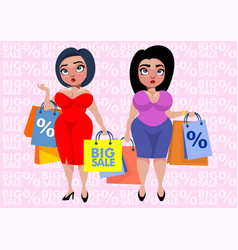 Colorful plus size fashion template vector