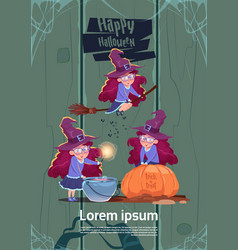 cute witch fly on broom stick cook potion in pot vector image