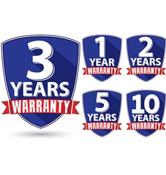 Flat design warranty label set with red ribbon vector image