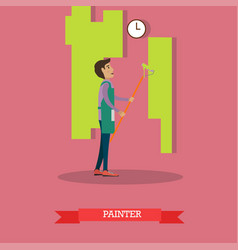 house painter painting wall vector image vector image