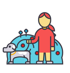 pets care dog with woman animal help flat line vector image vector image