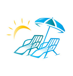 chairs and umbrella vector image