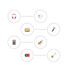 flat icons radio mp3 player fiddle and other vector image vector image