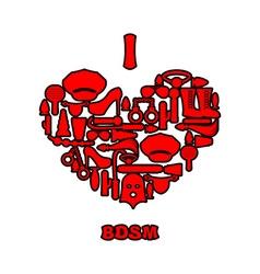 I love BDSM Fetish icon set in heart shape Emblem vector image