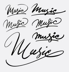 music hand written typography vector image