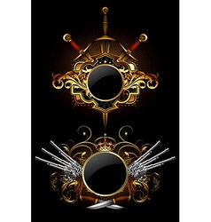 Two ornamental shields vector