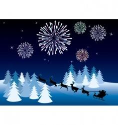 Christmas fireworks background vector image